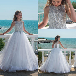 Girl paGeant dresses 14 online shopping - 2019 Sparkly Beaded Crystal Girls Pageant Dresses for Teens Tulle Floor Length Beach Flower Girl Dresses for Weddings Custom Made