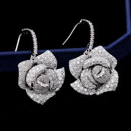 $enCountryForm.capitalKeyWord Australia - 2019 Europe And America Exaggerated S925 Silver Earring Three-Dimensional Camellia Micro-Inlaid Zircon Luxury Ear Hook Flower Earrings M056F