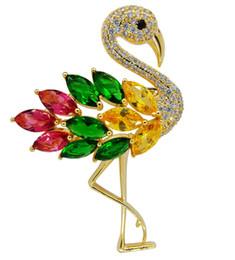 Pin Shine UK - Flamingo Brooch Birds Green Animal Pins Shining Crystal Colorful Badge Clothing Ornament