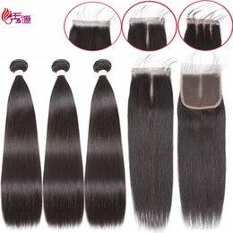 indian remy top closure 2019 - Raw Indian Virgin Remy Human Hair Bundles With Top Lace Closure Cuticle Aligned Straight Remy Human Hair Bundles With 4x
