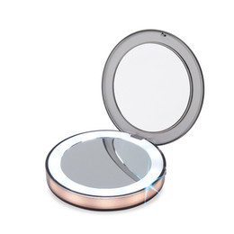 Round Mirror Glass Lights UK - LED Mini Lighted Makeup Mirror Travel Portable Touch Screen three times Magnifying Glass colorful types Folding Adjustable mirror QQA275