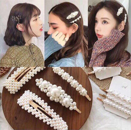 INS Women Pearl Hairpins Baby Girls Princess Beaded Bowknot Hair Clips Shiny Jewelry Hairclips Ladies Barrette Party Hair Accessories E3202 on Sale