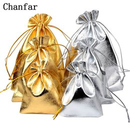 gold drawstring pouch UK - 50pcs bag 7x9cm 9x12cm 10x15cm Adjustable Jewelry Packing silver  gold colors drawstring Velvet bag,Wedding Gift Bags & Pouches