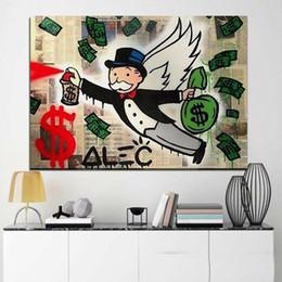 Alec Monopoly Graffiti Voar Monopoly Home Decor pintado à mão HD impressão pintura a óleo sobre tela Wall Art Canvas Pictures 200522 em Promoção