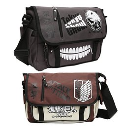 anime toys attack titan 2019 - Tokyo Ghoul Satchel Canvas Bag Shoulder Anime Art Cartoon Fashion Crossbody Bag Figure Toys Messenger Attack On Titan ch