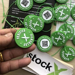 703a4161559cea 2019 Hot Sale Wholesale Stock X OG QR Code Sticker Green Circular Tag  Plastic Shoe Buckle StockX Verified X Authentic Green Tag