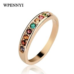 $enCountryForm.capitalKeyWord Canada - Simple Style Rose Gold Color Multicolor Rhinestones Studded Classic Women Fashion Knuckle Ring Wholesale Jewelry 18krgp stamp