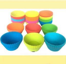 Random Cupcake Australia - mix wholesale free ship 12 Pieces 7cm Round Silicone Reusable Baking Cake Molds Jelly Mould Cupcake Maker Muffin Cup (Random Color)