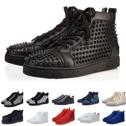 casual shoe brands for men 2019 - Designer fashion luxury Red Bottom Studded Spikes Flats shoes Brand For Men Women glitter Party Lovers Genuine Leather c