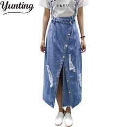 e345206e2 Yunting Ladies Irregular Front Slit Elegant Denim Skirts Suspender Split  Saias Summer Ripped Womens Skirt Jeans Jupe Hole Y1904002
