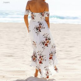 Floral spandex maxi dress online shopping - Boho Party Dress Print Sundress Women Sexy Off Shoulder Beach Maxi Dress Summer Strapless Long Plus Size Vestidos