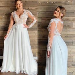 $enCountryForm.capitalKeyWord Australia - Bohemian Chiffon Beach Wedding Dresses White Ivory Long sleeve V Neck A Line Plus Size Princess Bridal Wedding Gowns