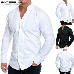 Wholesale men s v neck dress shirt resale online – INCERUN Solid Color Men Dress Shirt Brand Long Sleeve Button Slim V Neck Breathable Casual Business Men Shirts Camisa Streetwear1