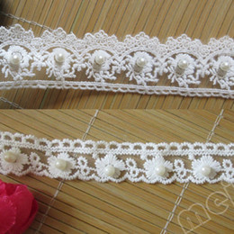 Pearl Trim Yard NZ - 1 Yard Scallop Edge Lace Ribbon Tape Pearl Trim 1inch 1.5inch White Embroidered Trimmings Vintage for Wedding Party Cakes Sewing Crafts Card