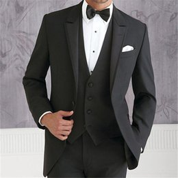New Check Suits Australia - New 2019 Custume Made Black Men Suits Terno Slim Fashion Wedding Party mens prom Best Man suit Tuxedos Jacket+Pant+Vest