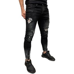$enCountryForm.capitalKeyWord UK - Mens Jeans Skinny Stretch Denim Pants Streetwear Distressed Ripped Freyed Slim Fit Jeans Trousers Pencil Pants
