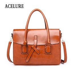 Ladies Briefcase Handbags Australia - Acelure Solid Color Alligator Pu Leather Briefcase Women Simple Style Shoulder Bags Business Style Ol Ladies Daily Handbags Q190428