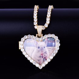 Making Photo Pendants Australia - Custom Made Photo Heart Medallions Necklace & Pendant With 4mm Tennis Chain Gold Color Zircon Men's Hip hop Jewelry 5x4.8cm