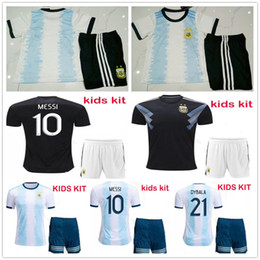 kid argentina messi jersey NZ - 2019 2020 Kids Copa America Argentina Soccer Jerseys 10 MESSI MARADONA KUN AGUERO DI MARIA DYBALA ICARDI Custom Home Youth Football Shirt