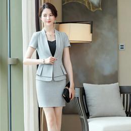 $enCountryForm.capitalKeyWord Australia - Formal OfficeLadies Grey Blazer Women Business Suits with Skirt and Jacket Sets Work Wear Uniform Business Suits OL Style