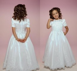$enCountryForm.capitalKeyWord NZ - 2019 On Sale First Holy Communion Gowns Ivory A Line Short Sleeves Buttons Back Lace Cheap Holy Communion Dresses For Sale
