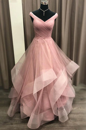 $enCountryForm.capitalKeyWord Australia - Fashion Dusty Rose Ball Gown Ruffles 2019 Evening Party Dress Formal Gowns Off the shoulder Real Photo Soft Tulle Skirt Women Red Carpet