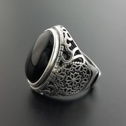 $enCountryForm.capitalKeyWord Australia - Cheap Rings Real Solid 925 Sterling Silver Black Ring Men Vintage Hollow Flowers Rings Open Natural Onyx Stone Large Oval Shape Male Jewelry