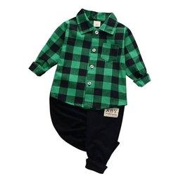 children chiffon wears 2019 - Boys Clothing Sets Plaid Summer Children Clothing Wear Chiffon T-shirt + Pants Sets Kids Clothes For Boy  cheap children