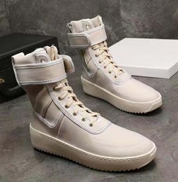 Wholesale cotton fabric black white flowers for sale - Group buy FEAR OF GOD Kanye Military High Top Outdoor Boots designer Sneakers Suede red black Color matching Boot Fog Jerry Lorenzo running shoes