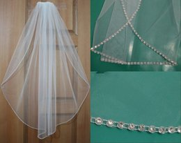 Elbow Length Australia - White Bridal Veil Elbow Length Beads Edge 1 Layer Hair Accessory Tulle Headpiece For Bride Vintage Wedding Veil