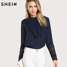 3dc10db76515aa SHEIN Navy Blue Ruffle Blouse Elegant Contrast Lace Button Round Neck Long  Sleeve Spring Keyhole Back Insert Lace Ruffle