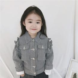 $enCountryForm.capitalKeyWord Australia - INS Kids stripe denim jacket girls falbala princess tops children lapel long sleeve cowboy outwear 2019 fall new children clothing F9214