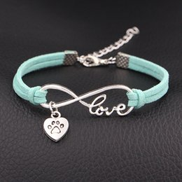 Heart Prints Australia - Fashion Women Men Jewelry Braided Light Green Leather Suede Charms Infinity Love Dog Paw Prints Heart Cuff Bracelets Bangles Wrist Band Gift