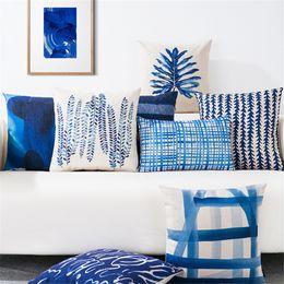 blue throw pillows 2019 - Nordic Style Decorative Throw Pillow Case Blue Geometric Lumbar Pillow Cushion Cover Case Decoration For Sofa Home Cojin
