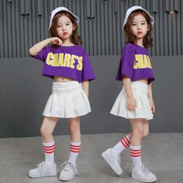Wholesale hip hop kids outfit for sale - Group buy crop top skirts toddler girl fashion streetwear modern jazz hip hop street dance costume clothing outfit kids children Dancewear