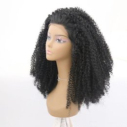 $enCountryForm.capitalKeyWord Australia - Hot Selling Quality Natural Black Long Kinky Curly Synthetic Lace Front Wig Glueless Wigs Heat Resistant Replacement Wigs For Black Women