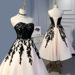 $enCountryForm.capitalKeyWord Australia - Simple Black Lace Nude Tea Length Party Prom Dresses 2019 Strapless Corset Back Draped Satin Cocktail Homecoming Graduation Dress Gowns
