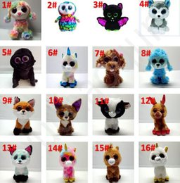 ty plush toys wholesale UK - 73 styles Ty Beanie Boos Plush Stuffed Toys 15cm Wholesale Big Eyes Animals Soft Dolls for Kids Gifts ty Toys Big Eyes Stuffed plush BY1328