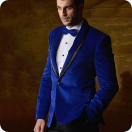 blue suit smoking NZ - Royal Blue Velvet Smoking Jacket Groom Wedding Tuxedo Men Suits 2Piece Prom Party Man Blazer Costume Homme Man Outfits Slim Terno Masculino