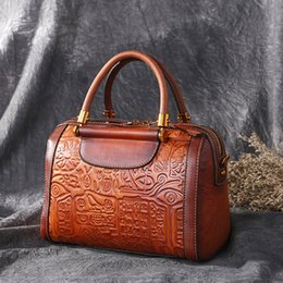 Genuine Leather Handbag Cowhide Shoulder Bag Australia - High Quality Genuine Leather Cross Body Shoulder Tote Messenger Handbag Embossing Retro Real Cowhide Women Top Handle Bags