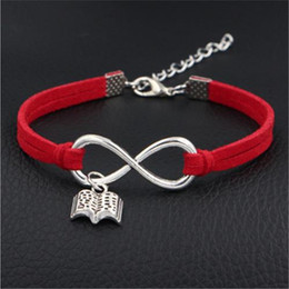 setting books NZ - Hot New Trendy Woven Punk Vintage Infinity Open book Shape Charm Red Leather Suede Women Bracelets Bangles Men Femme Homme Wholesale Jewelry