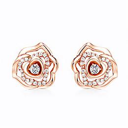 White Rose Earrings Studs Australia - 1 Pair Fashion Flower Stud Earrings White Rose Gold Copper Ear Studs For Women Piercing Jewelry
