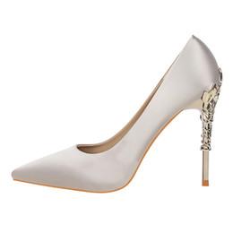 Grey Metal Wedding Dresses UK - Designer Dress Shoes Women's Flower-plated Metal Heel Elegant Sexy High Quality Dress Party Wedding Casual Soft Woman's S