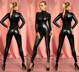 pvc bodysuit xxl Australia - Women Erotic Latex Catsuit With Zipper Faux Leather Jumpsuit Costume Pole Dance Bodysuit Sexiest Lingerie Cosplay Dance Clubwear