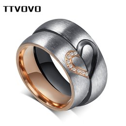 love rings male 2019 - TTVOVO Matching Heart Love Ring for Valentines Wedding Promise Engagement Bands for Female   Male Stainless Steel Couple