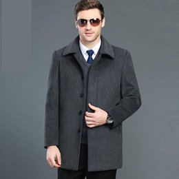 men coat high collar wool Australia - new arrival MEN fashion plus velvet Wool Overcoat Casual Turn-down Collar Single Breasted Thick Coat high quality plus size 5XL