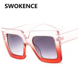 8e33362825df SWOKENCE Fashion Square Frame Sunglasses Women Men Name Brand Designer  Vintage Gradient Lens Sun Glasses Elegant Sun Shades SA40