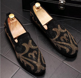 trendsetters shoes Australia - British Men's Trendsetter Shining rhinestone punk Rock Trendy Casual Shoes loafers Male walking Dress shoes moccasins zapatos hombre LF