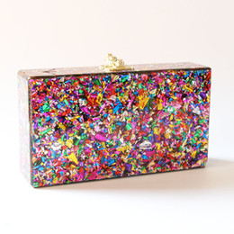 phone shell box Australia - 2018 Colorful Color Box Women Messenger Shoulder Day Clutches Lady Fashion Glitter Flap Shell Nice Acrylic Bags J190615 J190620