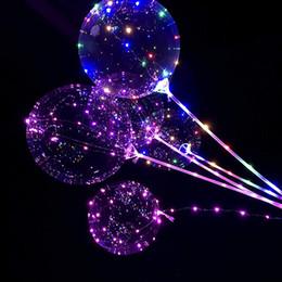 Großhandel 18 / 24inch Griff führt Ballon Luminous Transparent Helium Bobo Ballons Hochzeit Geburtstag Partydekoration für Kinder LED-Licht-Ballon